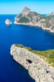 Mallorca, Balearic wyspy: Nakrętka De Formentor widzieć od Mirador C Obrazy Stock