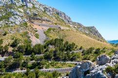 Mallorca, Balearic wyspy: Nakrętka De Formentor widzieć od Mirador C Obraz Royalty Free