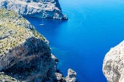 Mallorca, Balearic wyspy: Nakrętka De Formentor widzieć od Mirador C Obrazy Royalty Free
