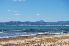 Mallorca Beach. The beach at Palma bay in Mallorca before peak tourist season Stock Photo