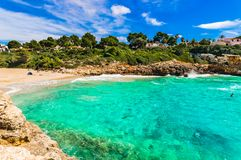 Beautiful beach landscape on Majorca, Spain Mediterranean Sea. Mallorca beach of Cala Anguila, idyllic bay seaside, Spain Balearic islands Royalty Free Stock Photography