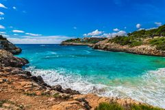 Beautiful seaside bay beach landscape on Majorca, Spain Mediterranean Sea. Mallorca beach of Cala Anguila, idyllic bay seaside, Spain Balearic islands Royalty Free Stock Photo