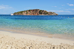 Mallorca beach. Clear waters at Mallorca (Majorca) beach, Portals Nous Stock Photo