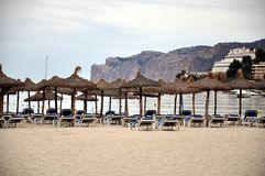 Mallorca beach. Beach in Mallorca (Majorca),Balearic Island with umbrellas and Beach chairs. Santa Ponsa, Mallorca. Spain Royalty Free Stock Image