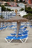 Mallorca beach. Beach in Mallorca (Majorca),Balearic Island with umbrellas and Beach chairs. Santa Ponsa, Mallorca. Spain Stock Image