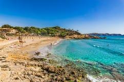Beautiful beach at coast of Paguera on Majorca, Spain. Mallorca beach Platja la Romana at bay in Peguera, Spain Mediterranean Sea royalty free stock photo