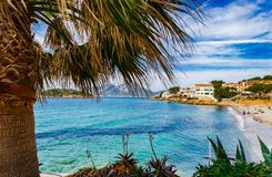 Beach view at seaside of Sant Elm on Majorca island, Spain. Mallorca beach in Sant Elm, beautiful coast Balearic islands, Spain Mediterranean Sea Royalty Free Stock Image