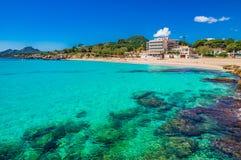 Seaside scenery of beautiful beach on Majorca, Spain. Mallorca beach Son Moll at coast in Cala Rajada, Spain Mediterranean Sea, Balearic Islands royalty free stock photos