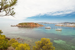 Mallorca beach. Top view over the clear waters at Mallorca (Majorca) beach, Portals Nous Stock Photography