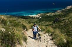Mallorca - biking in Serra de Llevant. On a trekking bike in Serra de Llevant mountains in north-east Mallorca, Spanish Balearic island Royalty Free Stock Images