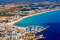 Mallorca, can picafort. Aerial shot city, beach and sea Stock Image