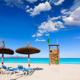 Mallorca Can Picafort beach in alcudia bay Majorca. Mallorca Can Picafort beach in alcudia bay at Majorca Balearic islands of Spain Stock Photos