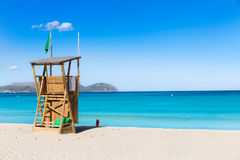 Mallorca Can Picafort beach in alcudia bay Majorca. Mallorca Can Picafort beach in alcudia bay at Majorca Balearic islands of Spain Stock Photography