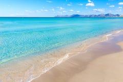 Mallorca Can Picafort beach in alcudia bay Majorca Royalty Free Stock Photography