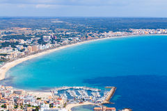 Mallorca, can picafort, sant pere  aerial shot city, beach and s. Mallorca, can picafort, sant pere  aerial shot city, beach sea Royalty Free Stock Photo