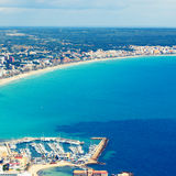 Mallorca, can picafort, sant pere  aerial shot city, beach and. Sea Royalty Free Stock Photos