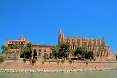Mallorca cathedral. Beautiful Cathedral designed in the French Gothic style, Palma de Mallorca, Spain Stock Photos