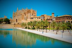 Mallorca cathedral. Beautiful Cathedral designed in the French Gothic style, Palma de Mallorca, Spain Stock Images