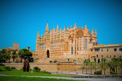 Mallorca cathedral. Beautiful Cathedral designed in the French Gothic style, Palma de Mallorca, Spain Royalty Free Stock Photo