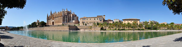 Mallorca Cathedral Panorama. Panorama view of Cathedral Le Seu, Palma de Mallorca, Spain Stock Images