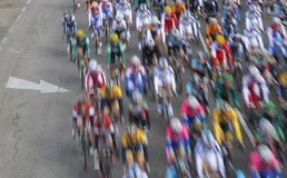 Mallorca cycling challenge long exposure movement pack. Long exposure over the pack of riders cycle during the Palma stage at Mallorca challenge cycling race in royalty free stock images