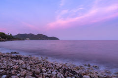 Mallorca at dusk. The mediterranean sea on the Spanish island of Mallorca at dusk Royalty Free Stock Image