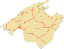 Mallorca - empty map. A map of Mallorca without labels. Just containing outline, settlements and streetnetwork Royalty Free Stock Photo