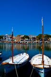 Mallorca habour scenery. MALLORCA - AUGUST 01: row of boats moored in port of old town of Soller on August 01, 2015, Balearic Island, Spain Stock Images