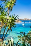 Mallorca island, beautiful bay sea landscape of Cala Fornells. View of Cala Fornells, tropical seaside bay with boats, Majorca Spain, Mediterranean Sea Stock Image