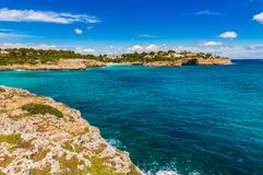 Mallorca island, beautiful seaside landscape, Spain Mediterranean Sea. Seaside bay of Cala Anguila, Majorca island Spain, Balearic Islands Royalty Free Stock Photos