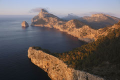 Mallorca island - Cape Formentor. Spain  - Balearic islands - Mallorca island - View of the Cape Formentor at sunset Royalty Free Stock Image