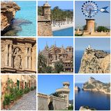 Mallorca Island landmarks collage Stock Photos