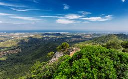 Mallorca island nature view with hills and forests from the mountain in Felanitx. Spain Stock Image