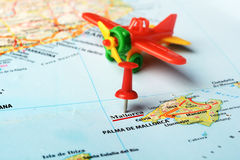 Mallorca  Island ,Spain map airplane. Close up of  Majorca  island , Spain  map  pin and airplane toy Royalty Free Stock Photography