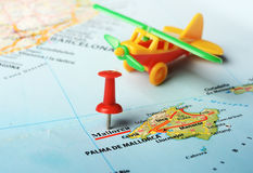 Mallorca  Island ,Spain map airplane Stock Photo