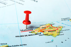 Mallorca  Island ,Spain map. Close up of  Majorca  island , Spain  map with red pin Stock Photography