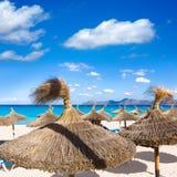 Mallorca kan Picafort-strand in alcudiabaai Majorca stock foto