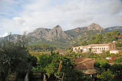 Mallorca landscape. Landscape of Mallorca highlands, Withs Mountains and buildings. In Baleares islands, Mallorca, Spain Stock Image