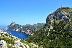 Mallorca-Landschaft und -ansicht zum Kap Formentor Stockfotografie