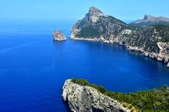 Mallorca landskap och sikt till udde Formentor Royaltyfri Foto