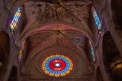 Palma, Mallorca, Majorca, Balearic Islands, Spain, La Seu, cathedral, church, Saint Mary interiors, decoration, rose window. The arches and the rose window Stock Image