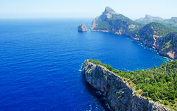 Mallorca, Majorca, Balearic Islands, Spain, Cap de Formentor, cape, cliff, wild, nature, Mediterranean Sea, landscape, viewpoint. Cap de Formentor seen from Royalty Free Stock Image