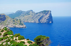 Mallorca, Majorca, Balearic Islands, Spain, Cap de Formentor, cape, cliff, wild, nature, Mediterranean Sea, landscape, viewpoint. Cap de Formentor seen from Stock Photos