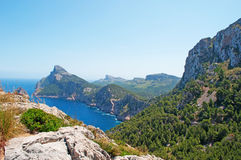 Mallorca, Majorca, Balearic Islands, Spain, Cap de Formentor, cape, cliff, wild, nature, Mediterranean Sea, landscape, viewpoint. Cap de Formentor seen from Royalty Free Stock Photos