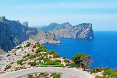 Mallorca, Majorca, Balearic Islands, Spain, Cap de Formentor, cape, cliff, wild, nature, Mediterranean Sea, landscape, viewpoint. Cap de Formentor seen from Stock Image