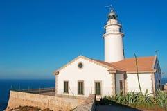 Mallorca, Majorca, Balearic Islands, Spain, Capdepera, lighthouse, cliff, Mediterranean Sea, sunset point. The Capdepera Lighthouse on June 6, 2012. The Royalty Free Stock Photos