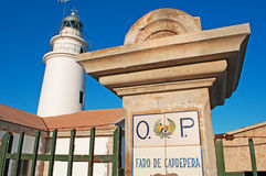 Mallorca, Majorca, Balearic Islands, Spain, Capdepera, lighthouse, sign. The Capdepera Lighthouse on June 6, 2012. The Capdepera Lighthouse marks the channel Stock Images