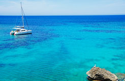 Mallorca, Balearic Islands, Spain, Mediterranean Sea, cove, bay, nature, landscape, secret place, desert, beach, catamaran Royalty Free Stock Image