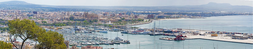 Mallorca, Majorca, Balearic Islands, Spain, Palma, skyline, port, harbor, Mediterranean Sea. The city of Palma seen from Bellver Castle on June 11, 2012. Palma Stock Image