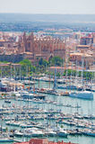 Palma, Mallorca, Majorca, Balearic Islands, Spain, La Seu, cathedral, church, Saint Mary, skyline, port, viewpoint, harbor. The city of Palma seen from Bellver Stock Images